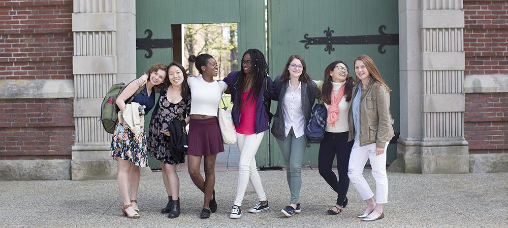 Students by green door