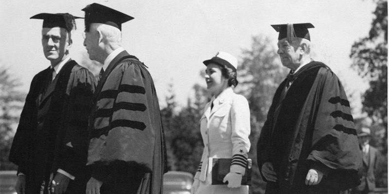 1945 President McAfee at Commencement