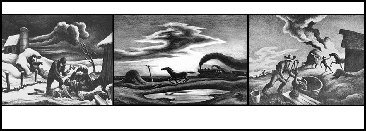 Three black-and-white lithographs: One of a man chopping wood; one of a horse running next to a pond; one of a fire in a barnyard