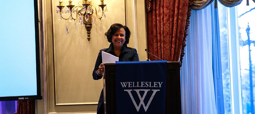 President Paula Johnson at WCAB's 125th Anniversary event