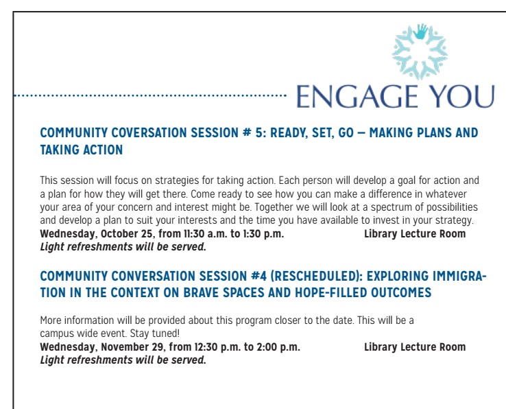 Engage You: Community Conversation Sessions #4 and #5 poster