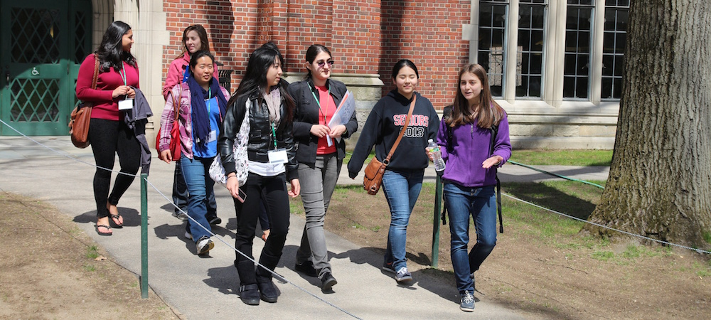 Prospective students tour campus