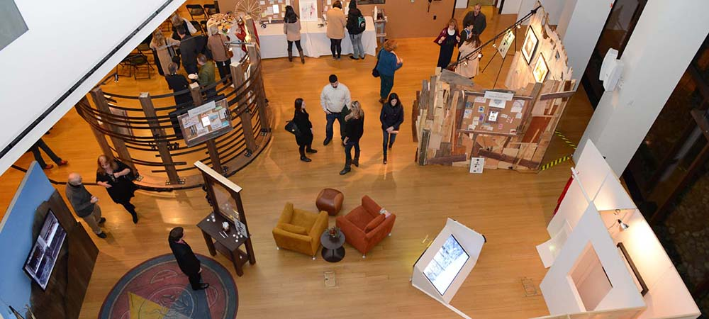 aerial shot of museum exhibit