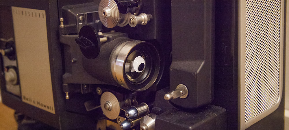 detail photo of Filmosound device with a googly eye stuck to one of its lenses