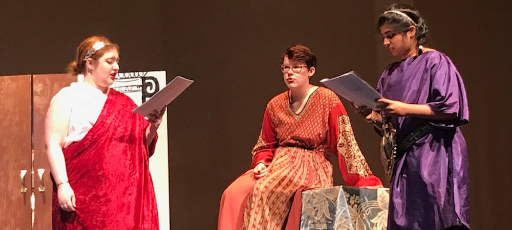 Members of the Classics Club performing Seneca's Medea, Spring 2019.