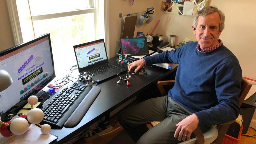 Nick Doe in his remote teaching setup