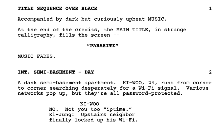 A clip from the english translation of the script for the film Parasite.