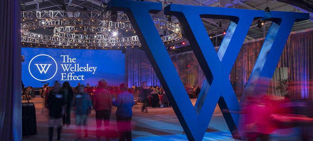 giant blue W inside a transformed fieldhouse