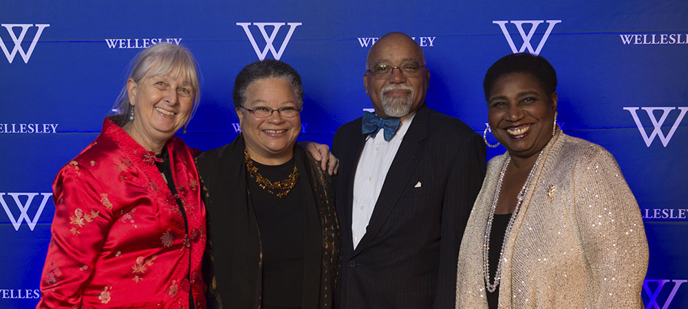 Melissa Ludtke '73, Judy Rollins Rigby '73, Judge Paul McGill, and Callie Crossley '73