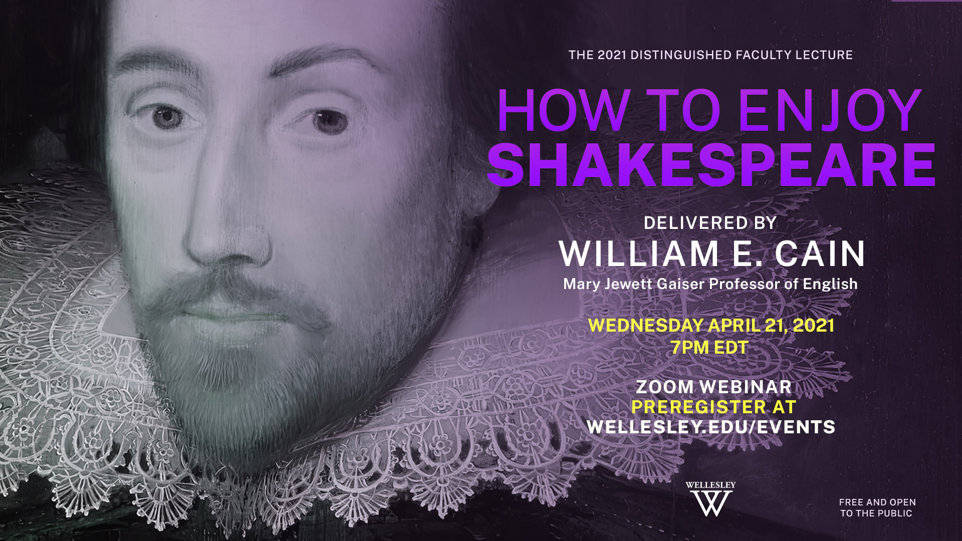Flyer for Prof. Cain's Distinguished Faculty Lecture on Shakespeare.