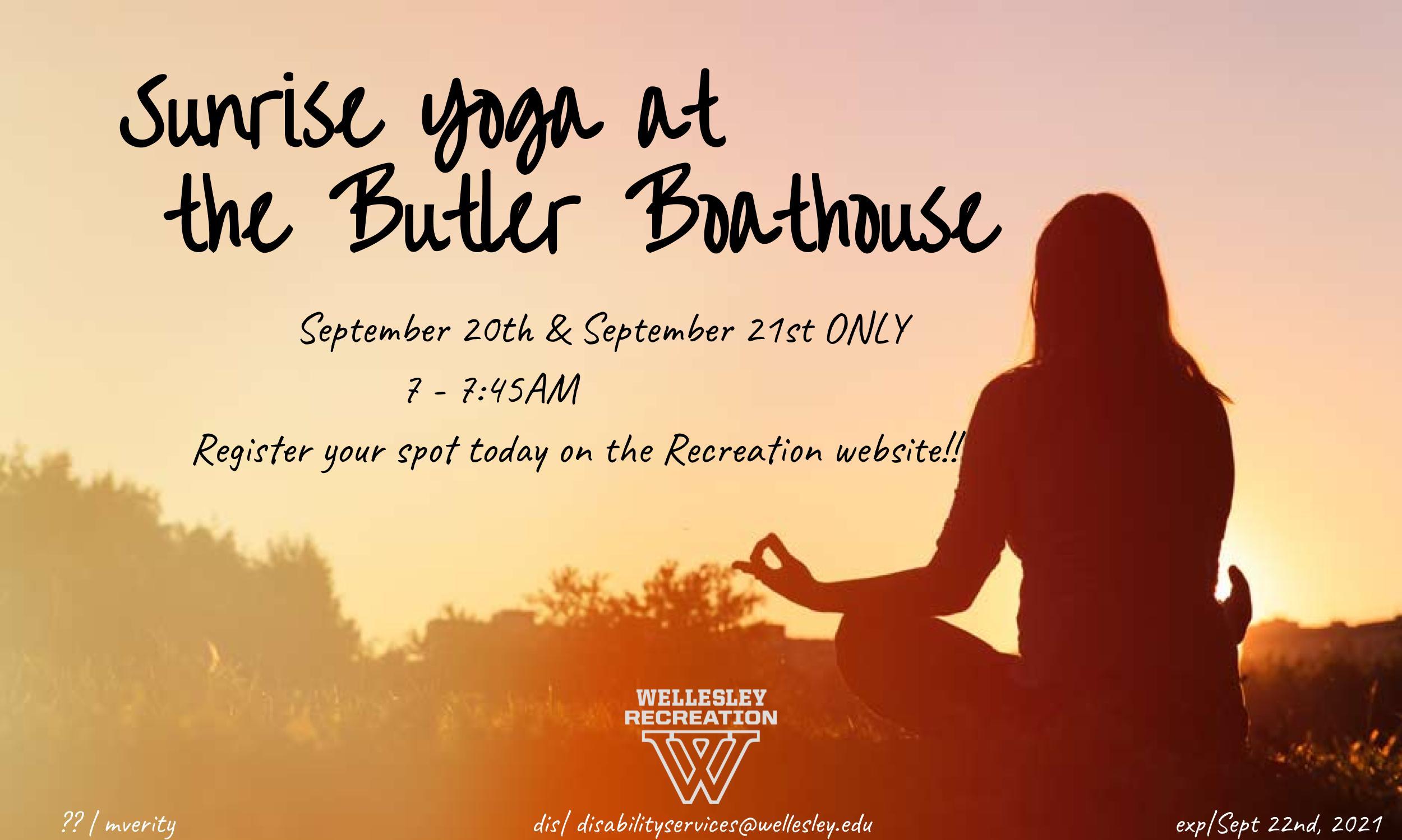 Sunrise Yoga at the Butler Boathouse