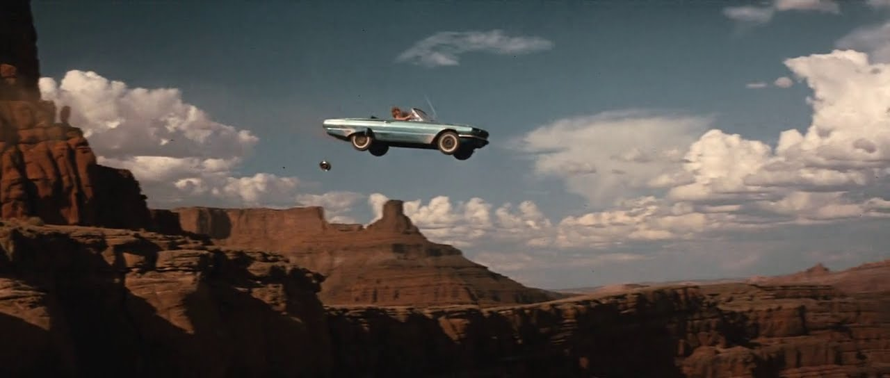 A still from the film Thelma and Louise, Thelma and Louise have just driven their car off a cliff