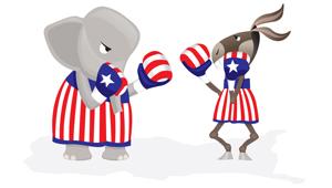 cartoon of elephant and donkey boxing
