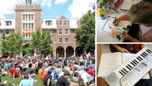 3 shots of summer activity at Wellesley