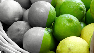 Photo of limes, half of the image is in color half is black and white