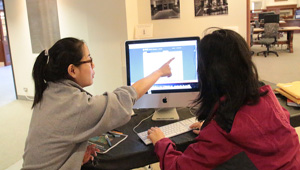 two students work at a computer in Wellesley library