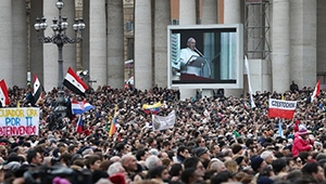 crowds greet new pope