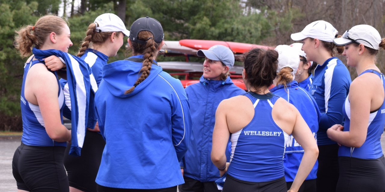 Wellesley Crew Team in a huddle