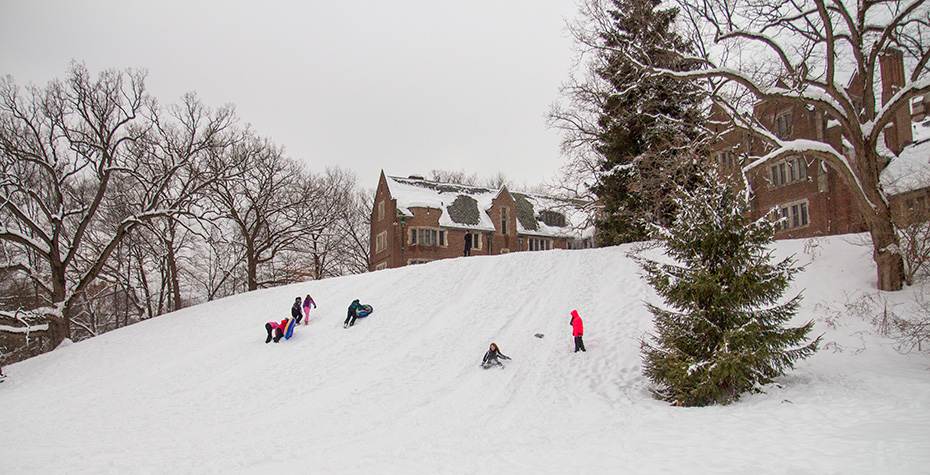 Traying/sledding down Severance Hill