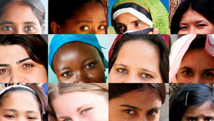 grid of 12 photos of different women's eyes