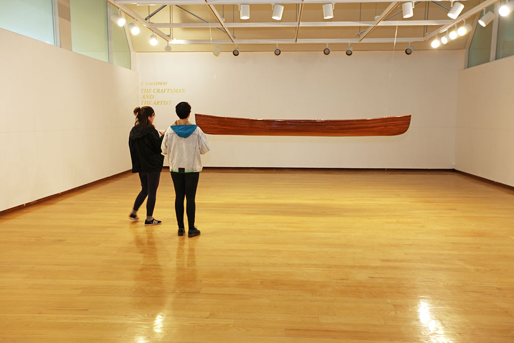 Jewett Art Gallery with hanging boat sculpture