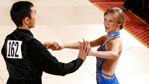 May-Elise Martinsen dancing with partner in ballroom dance competition