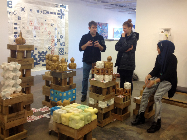 Students visit Andy Mowbray's show at Lamontagne Gallery, Boston