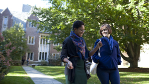 two students on wellesley's beautiful campus