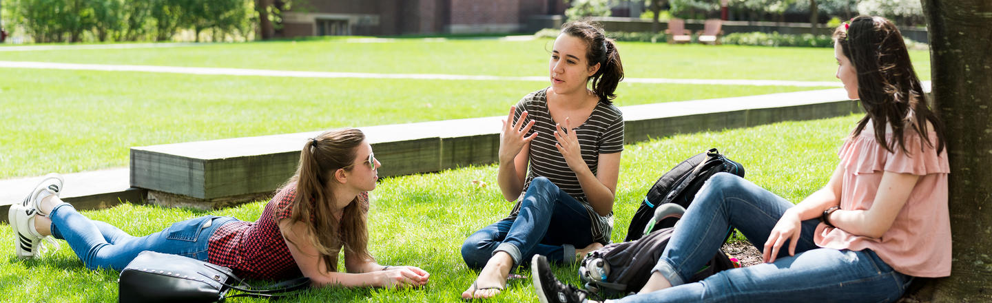 Wellesley students sitting in the grass under a tree