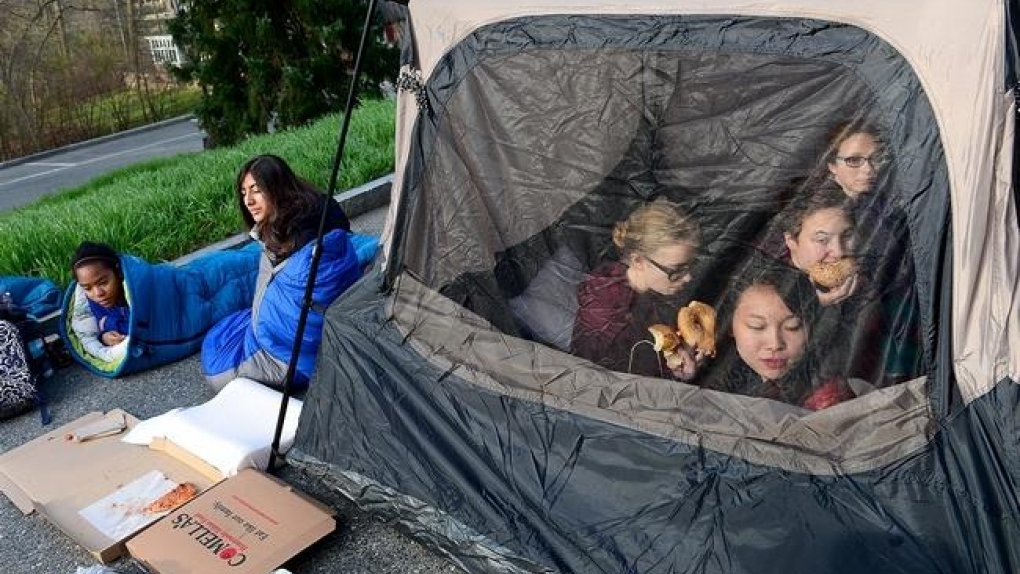 Students camping out on Tupelo Lane