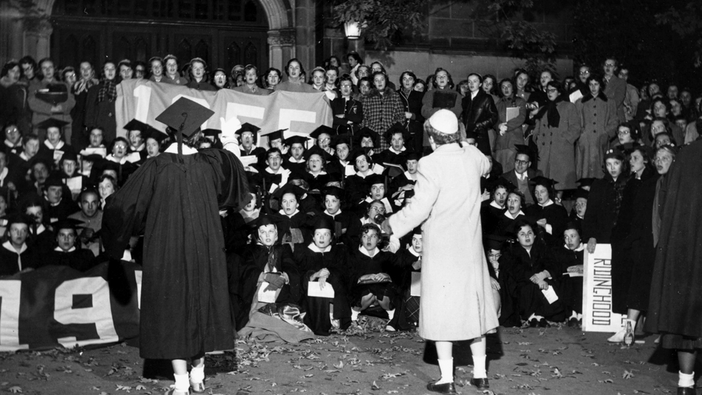 Vintage photo of step singing students