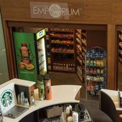 Shelves of snacks in the Emporium