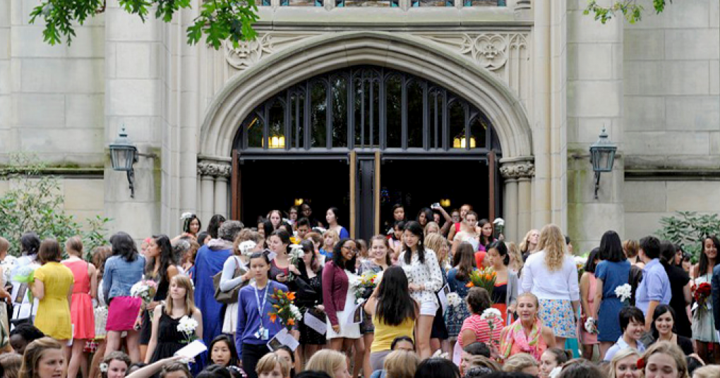 Students gather on the Chapel steps