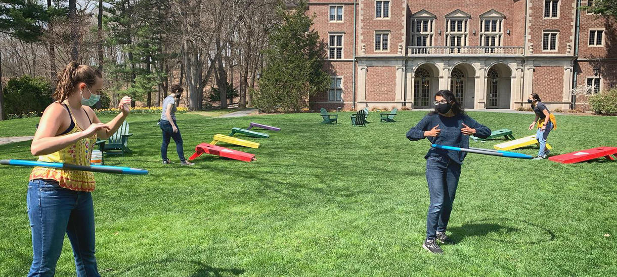 Students outside during stress less week