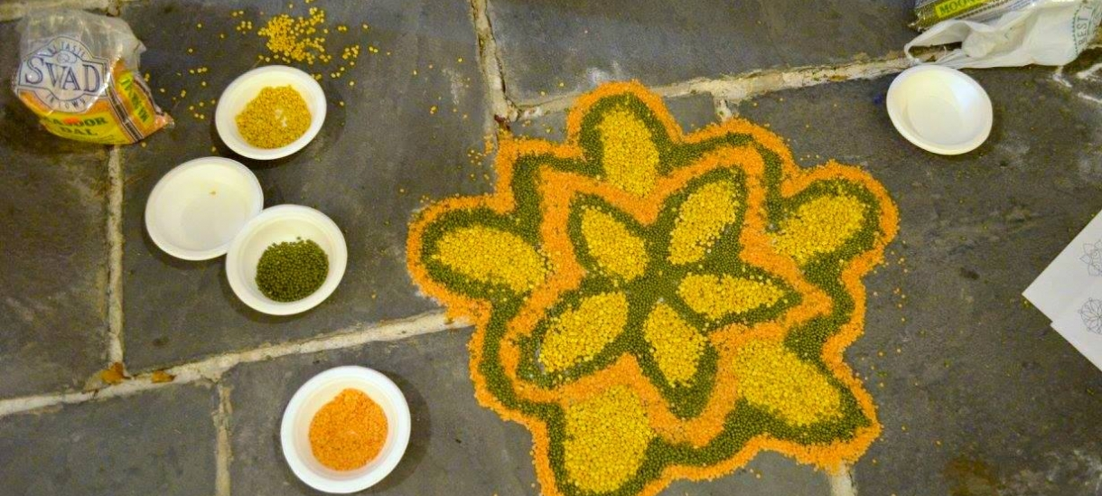 a flower pattern created with seeds