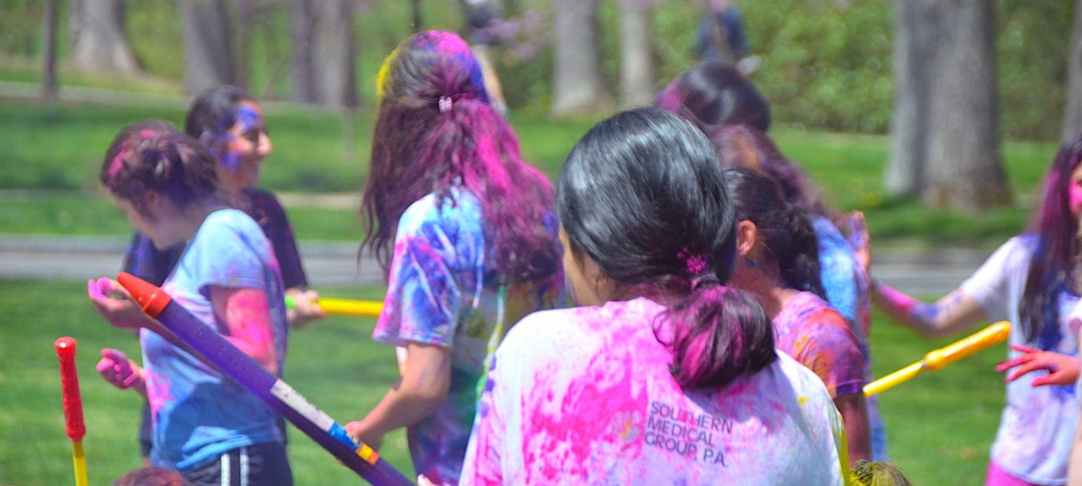 Students on Holi, celebrating on the Chapel Lawn