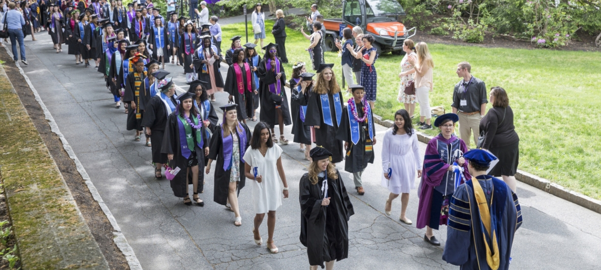 Seniors processing to commencement ceremony