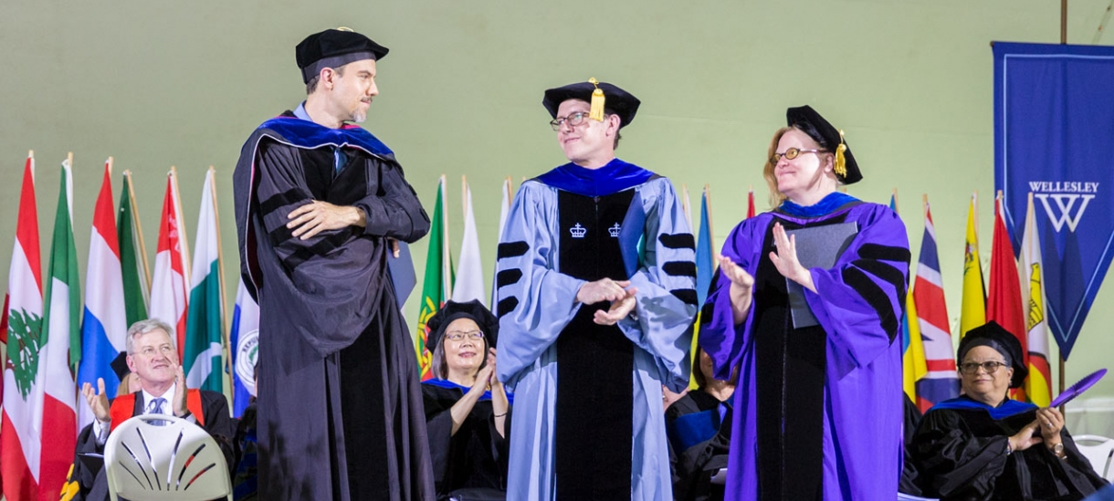 Pinanski Prize Winners standing on commencement stage