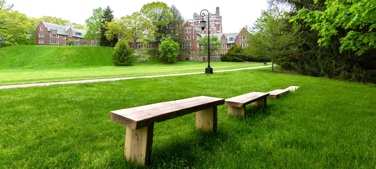 benches made from recycled material next to severance green