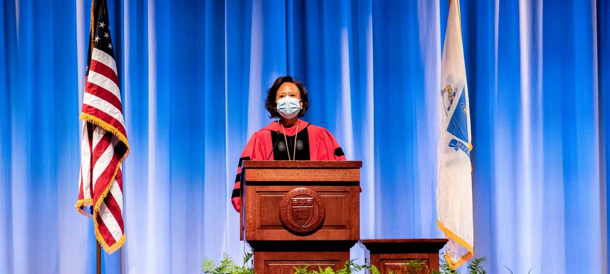 President Johnson at the podium during virtual convocation