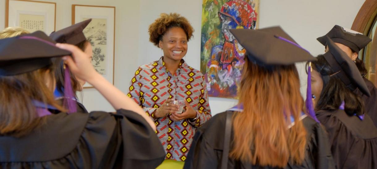 Tracy K. Smith meets with graduating seniors