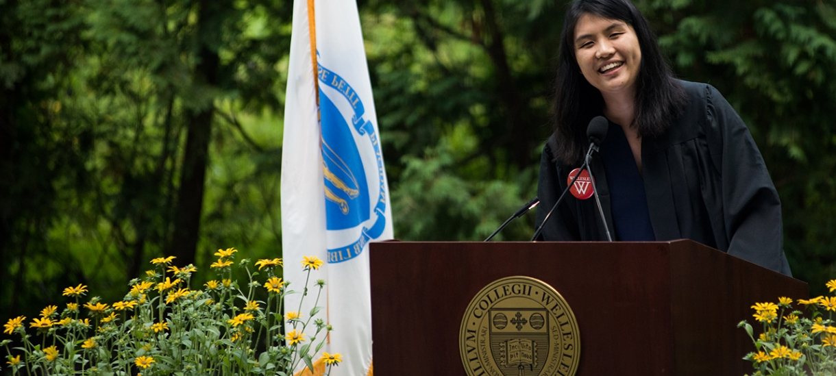 Diana Lan '20 speaks at convocation.