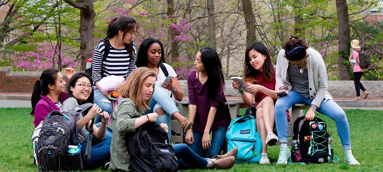 students chatting in a group sitting on the grass
