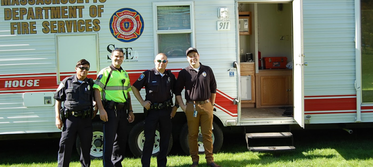 campus po in front of a Fire Services trailer