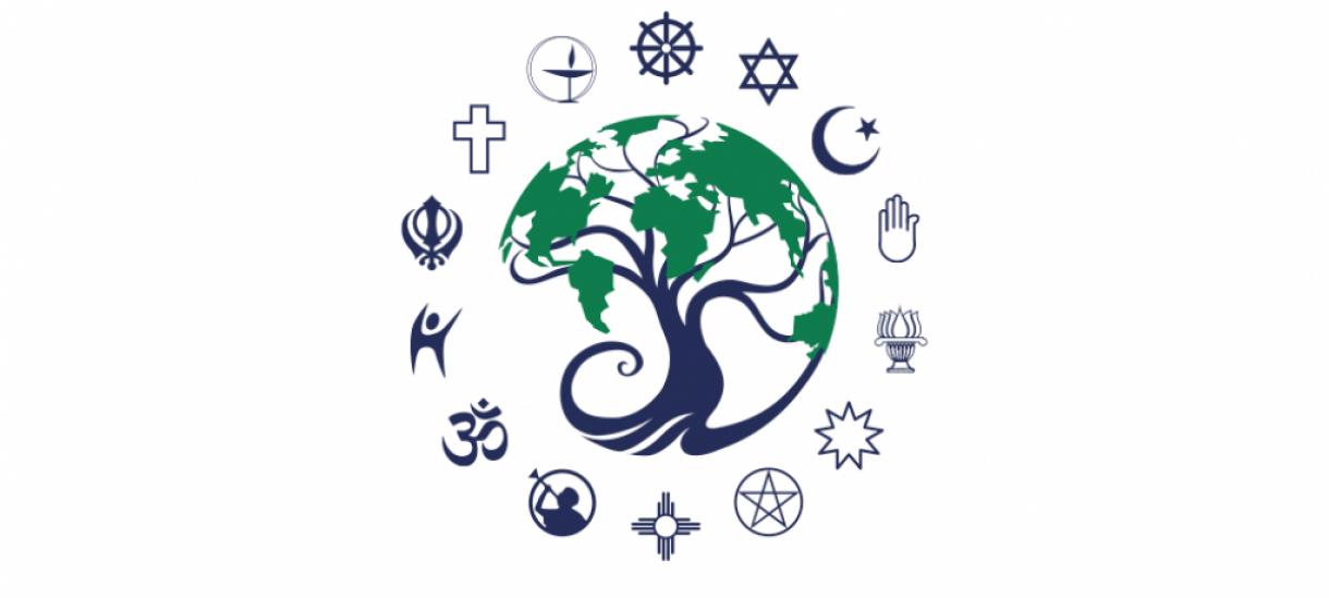 ORSL Logo: Tree surrounded by worldwide religious symbols