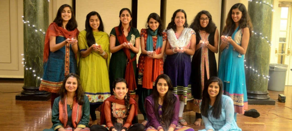 Students pose for a photo at Diwali celebration