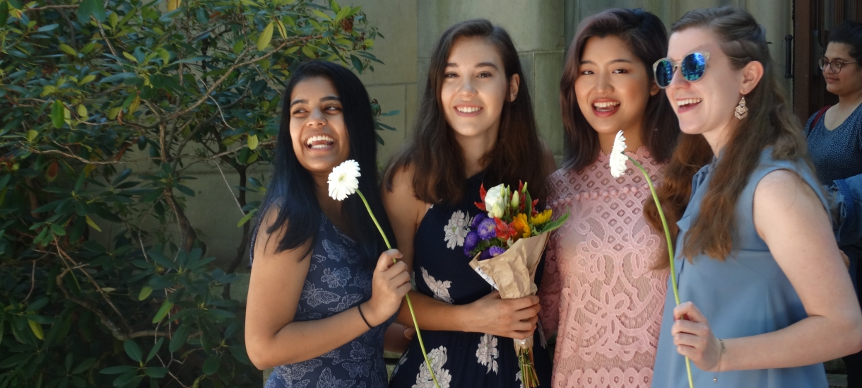 Students with flowers