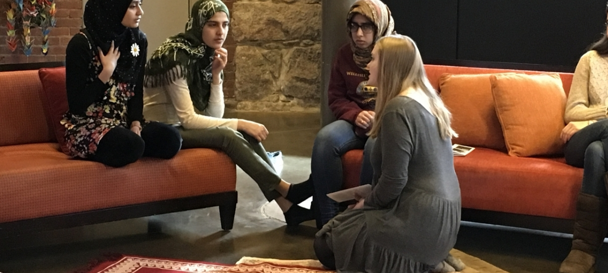 Students gather in the Multifaith Center and chat.