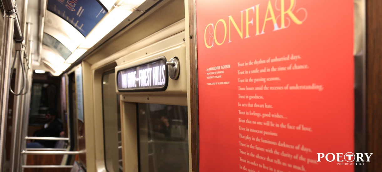 "Photo of the poem ""Confiar"" on the MBTA orange line"