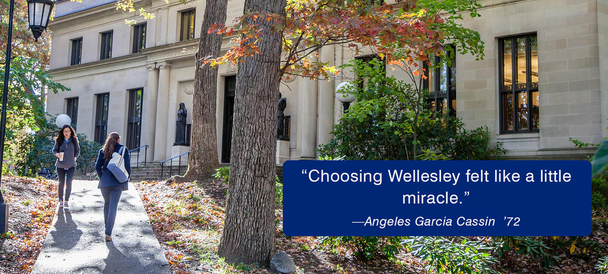 Picture of students walking, sunshine, path, autumn.  Quote from Alumnae Angeles Cassin about financial aid.
